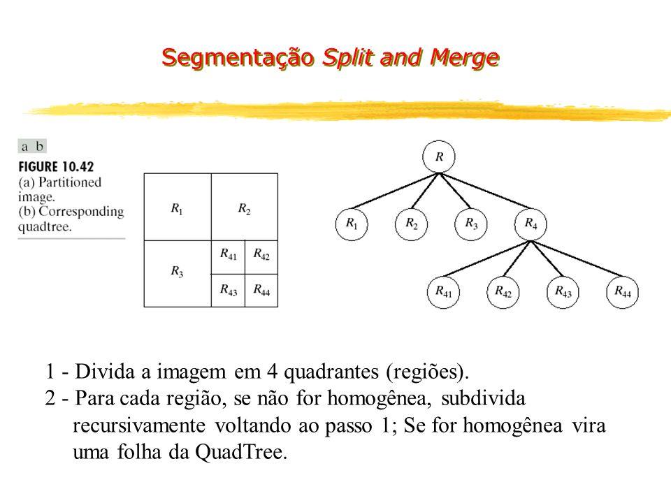 Segmentação Split and Merge 1 - Divida a imagem em 4 quadrantes (regiões).