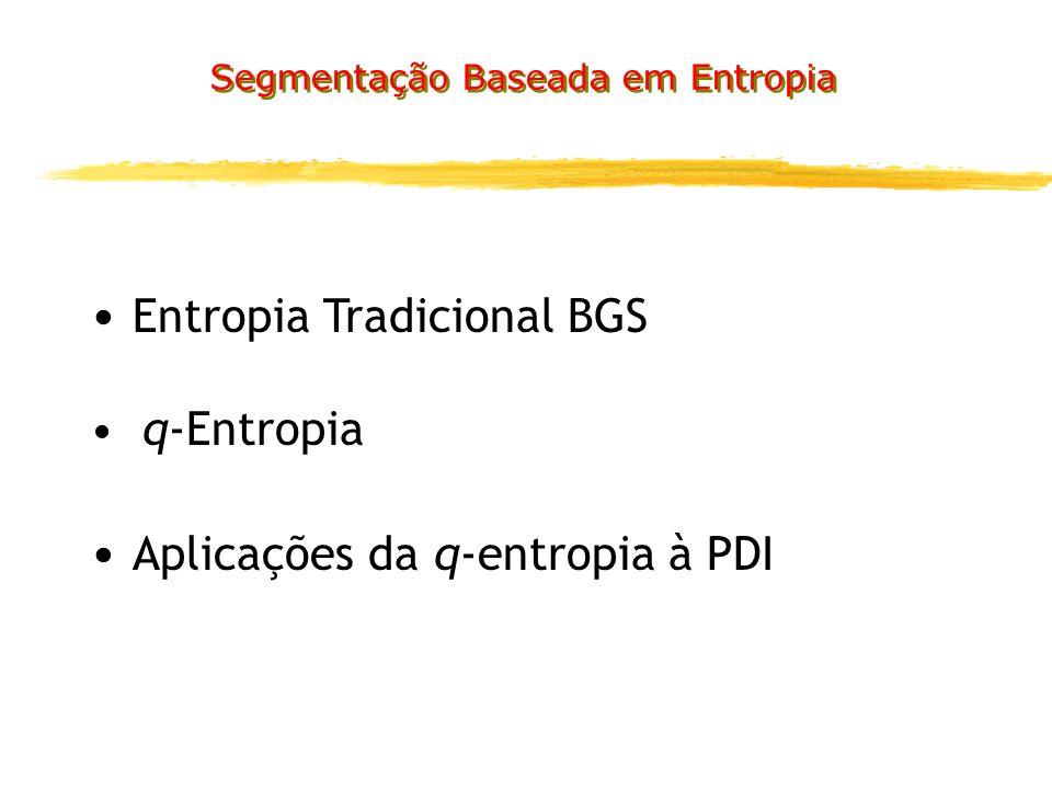Entropia Tradicional BGS q-Entropia Aplicações da q-entropia à PDI Segmentação Baseada em Entropia