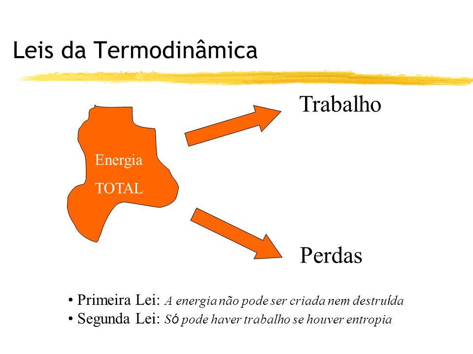 Leis da Termodinâmica Trabalho Perdas Energia TOTAL Primeira Lei: A energia não pode ser criada nem destru í da Segunda Lei: S ó pode haver trabalho se houver entropia