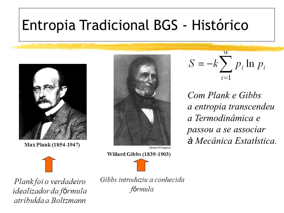 Max Plank (1854-1947) Plank foi o verdadeiro idealizador da f ó rmula atribu í da a Boltzmann Willard Gibbs (1839-1903) Gibbs introduziu a conhecida f ó rmula Com Plank e Gibbs a entropia transcendeu a Termodinâmica e passou a se associar à Mecânica Estat í stica.