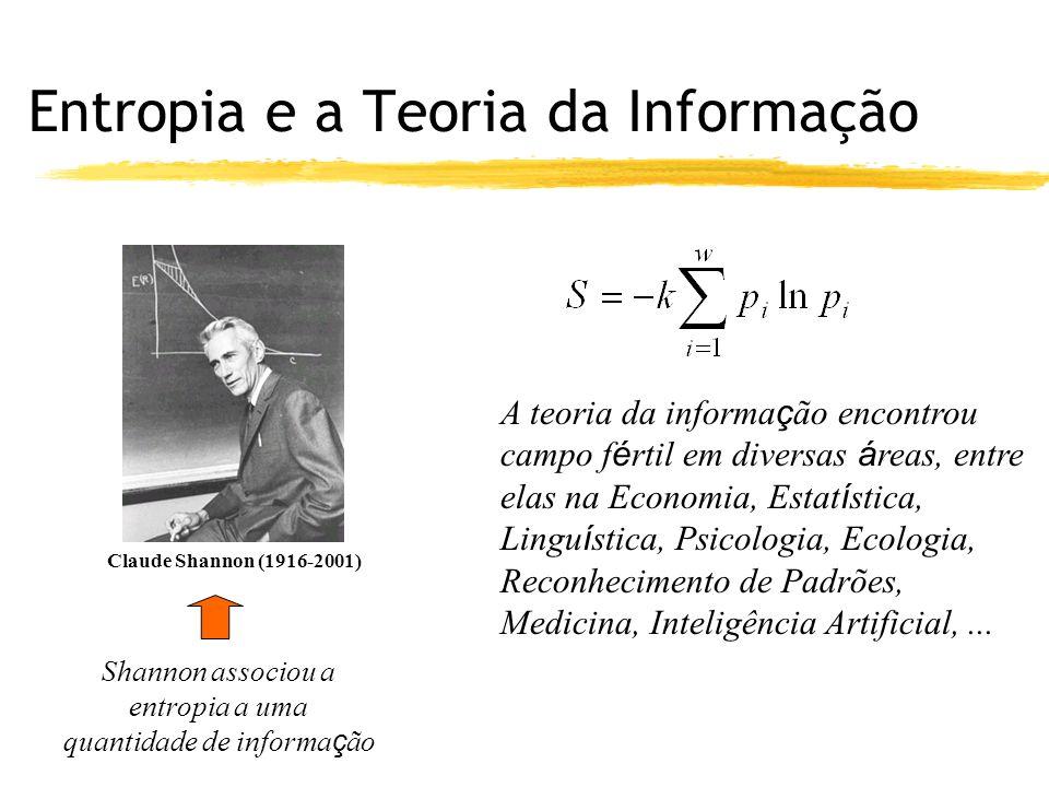 Entropia e a Teoria da Informação Claude Shannon (1916-2001) Shannon associou a entropia a uma quantidade de informa ç ão A teoria da informa ç ão encontrou campo f é rtil em diversas á reas, entre elas na Economia, Estat í stica, Lingu í stica, Psicologia, Ecologia, Reconhecimento de Padrões, Medicina, Inteligência Artificial,...