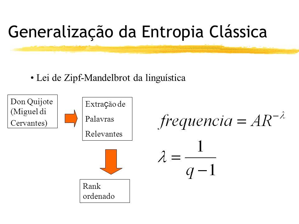 Generalização da Entropia Clássica Lei de Zipf-Mandelbrot da linguística Don Quijote (Miguel di Cervantes) Extra ç ão de Palavras Relevantes Rank ordenado