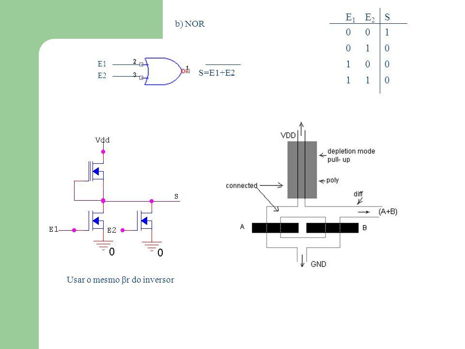 c) NANDE20101E20101 S1110S1110 E10011E10011 Usar o r=2 r inversor para obter o mesmo V 0 E1 E2 S=E1.E2