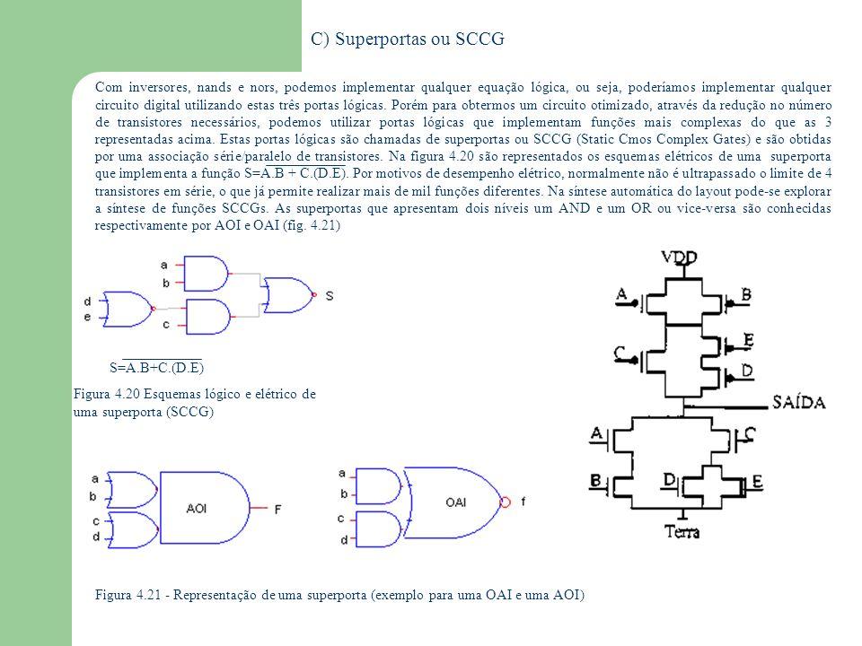 D) Chaves de passagem: a) nmos Vc EF..Vdd..0..Vdd Vc VEVE VFVF Vdd- Vt..0 Quando Vc=Vdd e V E = Vdd V E tende a V E porém o transistor está em saturação Quando V CF =V T I=0 V F =V DD - V T V F será menor que V E =V E -V T !