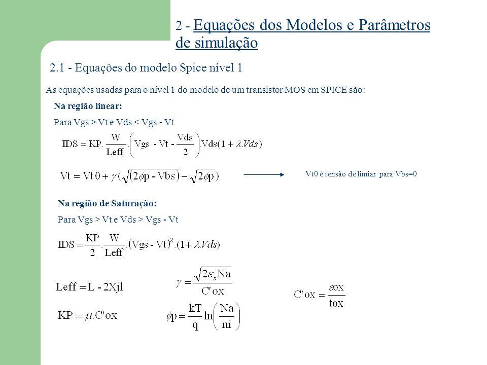 2.1.1 - Parâmetros do modelo Spice nível 1 VTO KP GAMMA PHI LAMBDA TOX NSUB LD UO AF KF SIMBOLO SPICE DESCRIÇÃOUNIDADES Vt para vbs=0 Transcondutância Efeito de corpo Potencial de superfície em inversão Modulação de canal Espessura de Óxido Dopagem de Substrato Difusão lateral Mobilidade de superfície Expoente Flicker noise Coeficiente Flicker noise V A/V 2 V 1/2 V V -1 m cm -3 m cm 2 /V.s -- Parâmetros de efeitos parasitários IS JS PB CJ MJ CJSW MJSW FC CGBO CGDO CGSO RD RS RSH Corrente de Saturação de Junção Densidade de Corrente de Saturação de Junção Potencial de junção Capacitância por área para Vbs=0 Coeficiente de graduação da junção Capacitância de perímetro por metro para Vbs=0 Coeficiente de graduação da junção no perímetro Coeficiente de junção polarizada diretamente Capacitância entre Porta e corpo Capacitância entre Porta e Dreno Capacitância entre Porta e Fonte Resistência do Dreno Resistência da Fonte Resistência de folha de Fonte e Dreno A A/m 2 V F/m 2 -- F/m -- F/m Vt KP 2 f tox Nb Xjl o Af Kf Is Js J Cj Mj Cjsw Mjsw FC Ccbo Cgdo Cgso Rd Rs Rsh