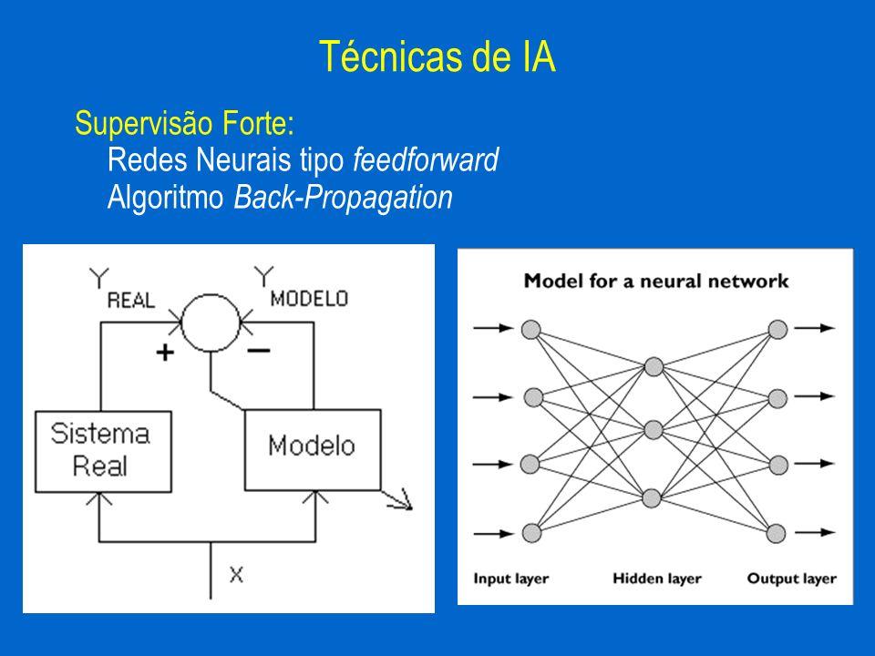 Supervisão Forte: Redes Neurais tipo feedforward Algoritmo Back-Propagation Técnicas de IA