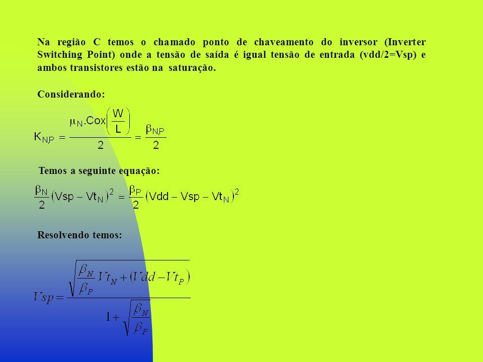 Na região C temos o chamado ponto de chaveamento do inversor (Inverter Switching Point) onde a tensão de saída é igual tensão de entrada (vdd/2=Vsp) e