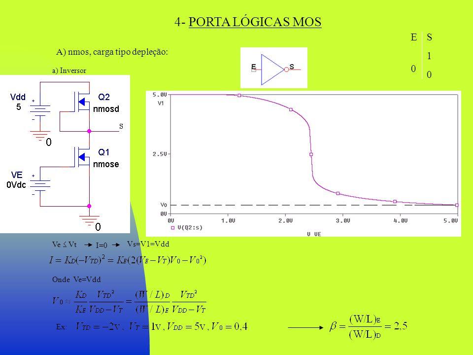 4- PORTA LÓGICAS MOS A) nmos, carga tipo depleção: a) Inversor Ve Vt I=0 Vs=V1=Vdd Onde Ve=Vdd Ex: E 0 1 E 0 1 S10S10