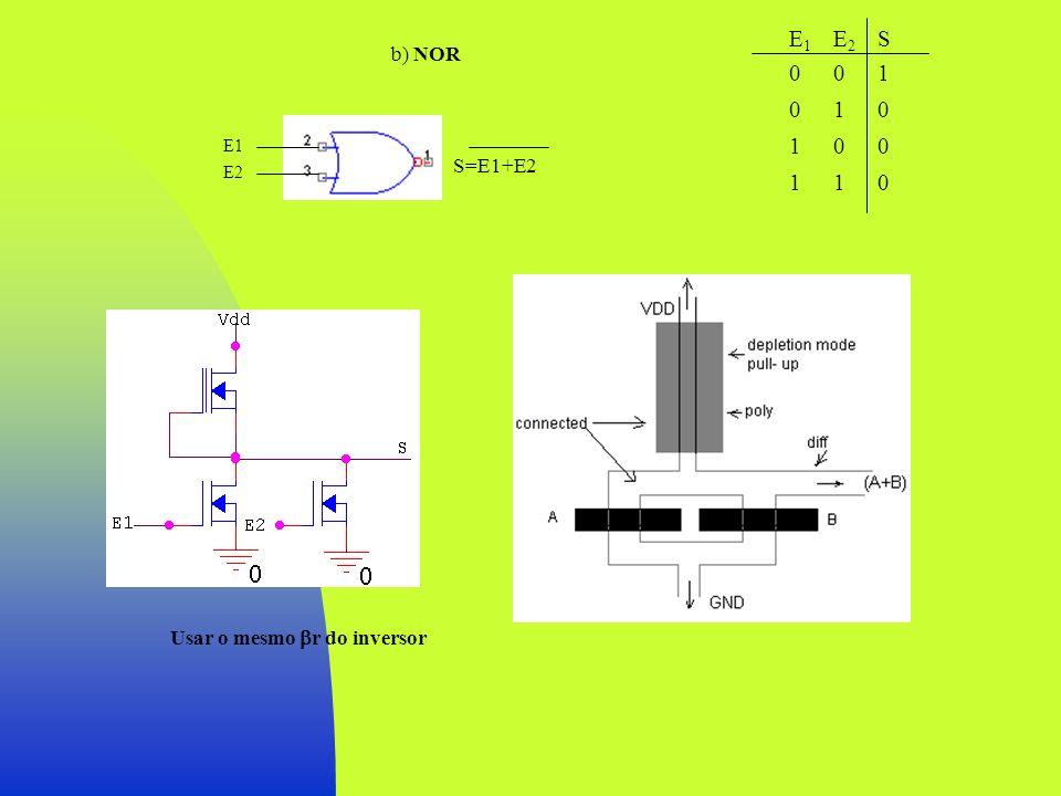 b) NOR E20101E20101 S1000S1000 E10011E10011 Usar o mesmo r do inversor E1 E2 S=E1+E2