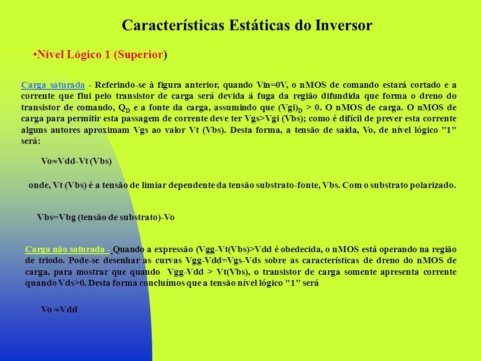 Características Estáticas do Inversor Nível Lógico 1 (Superior) Carga saturada - Referindo-se à figura anterior, quando Vin=0V, o nMOS de comando esta