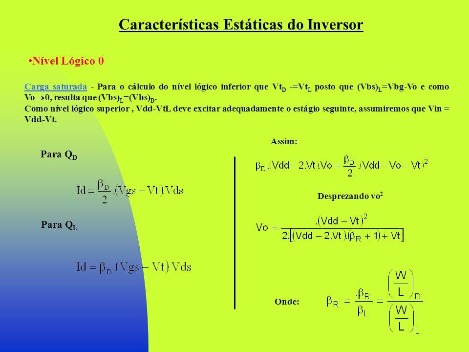 Características Estáticas do Inversor Nível Lógico 0 Carga saturada - Para o cálculo do nível lógico inferior que Vt D -=Vt L posto que (Vbs) L =Vbg-V