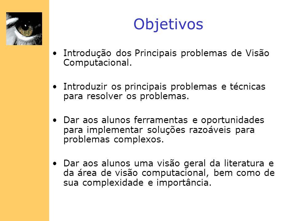Objetivos Introdução dos Principais problemas de Visão Computacional. Introduzir os principais problemas e técnicas para resolver os problemas. Dar ao