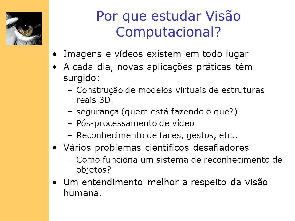 Por que estudar Visão Computacional? Imagens e vídeos existem em todo lugar A cada dia, novas aplicações práticas têm surgido: –Construção de modelos