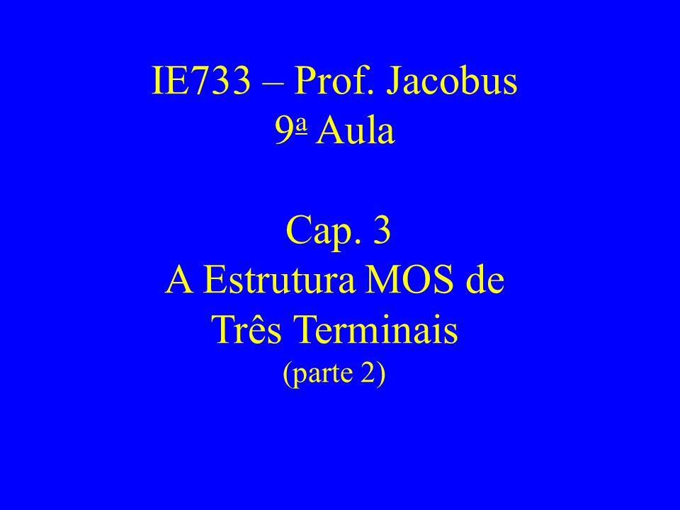 IE733 – Prof. Jacobus 9 a Aula Cap. 3 A Estrutura MOS de Três Terminais (parte 2)