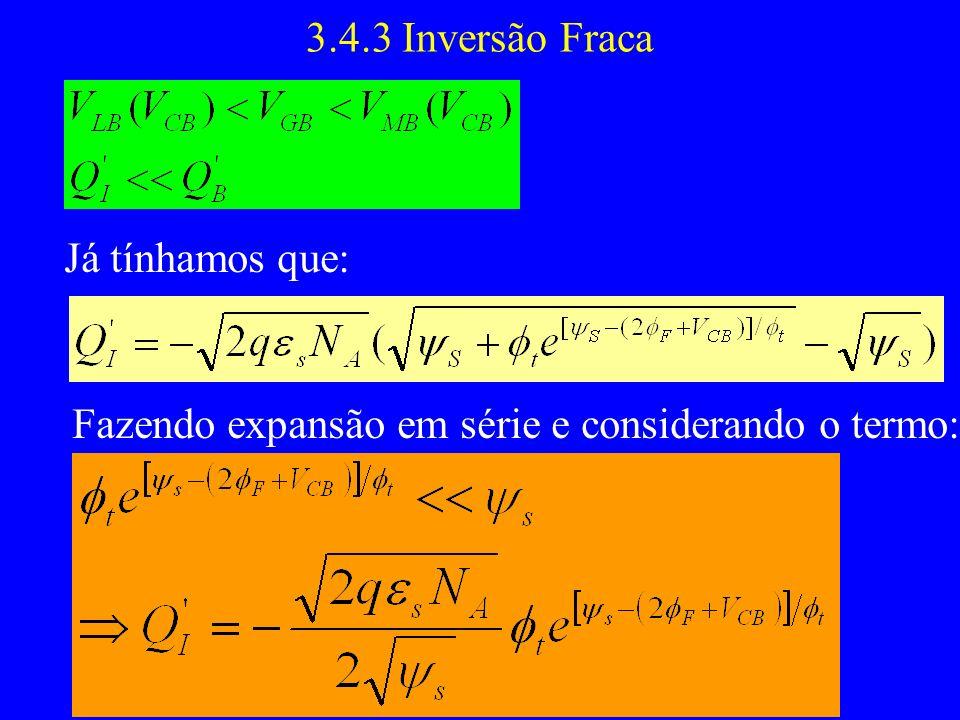 3.4.3 Inversão Fraca Já tínhamos que: Fazendo expansão em série e considerando o termo: