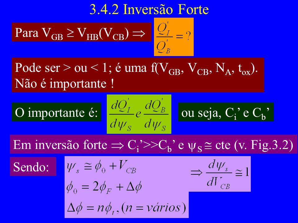 3.4.2 Inversão Forte Para V GB V HB (V CB ) Pode ser > ou < 1; é uma f(V GB, V CB, N A, t ox ).