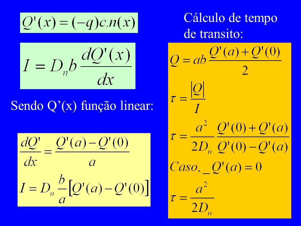 Sendo Q(x) função linear: Cálculo de tempo de transito: