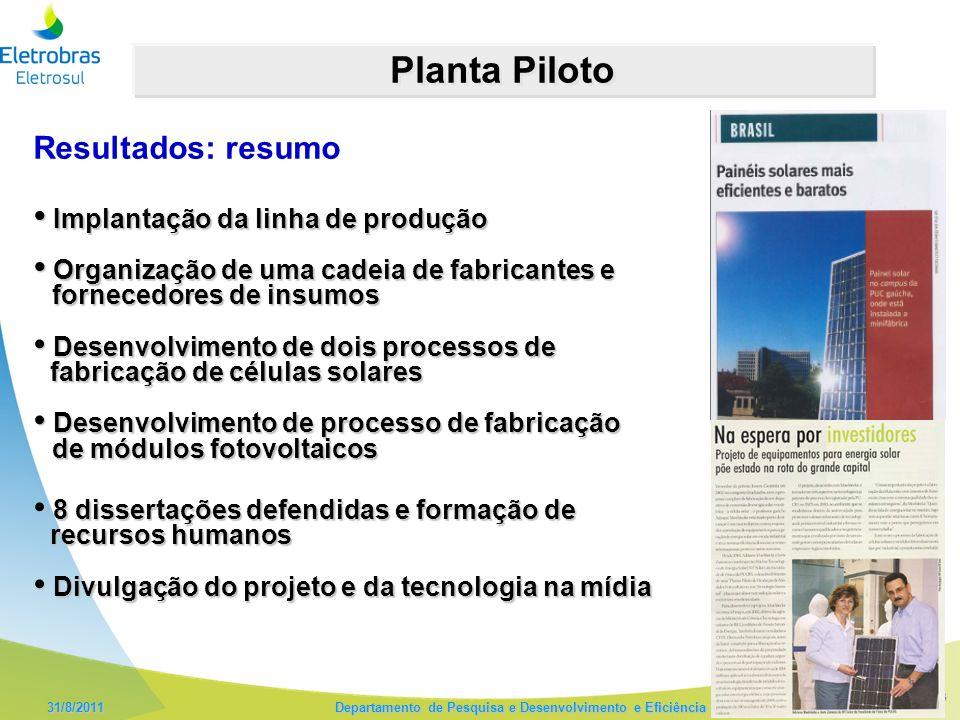 13 31/8/2011 Departamento de Pesquisa e Desenvolvimento e Eficiência Energética – DPE Planta Piloto Implantação da linha de produção Implantação da li