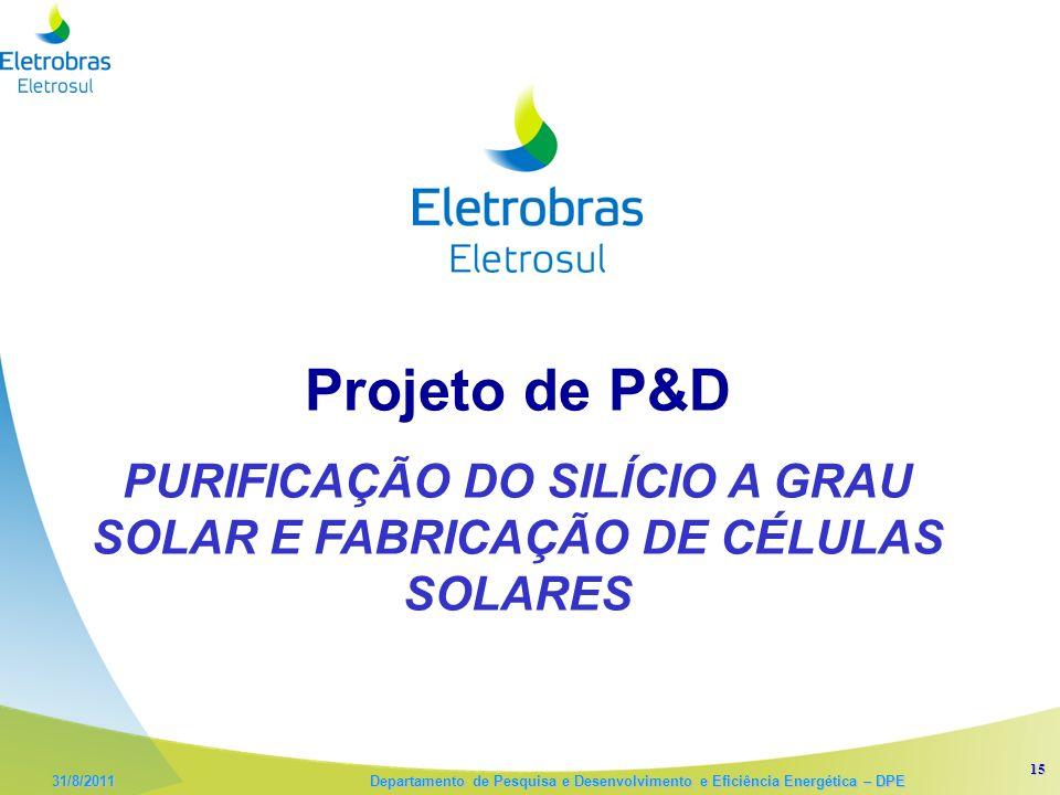 15 31/8/2011 Departamento de Pesquisa e Desenvolvimento e Eficiência Energética – DPE Projeto de P&D PURIFICAÇÃO DO SILÍCIO A GRAU SOLAR E FABRICAÇÃO DE CÉLULAS SOLARES