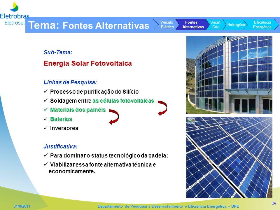16 31/8/2011 Departamento de Pesquisa e Desenvolvimento e Eficiência Energética – DPE Sub-Tema: Energia Solar Fotovoltaica Linhas de Pesquisa: Process