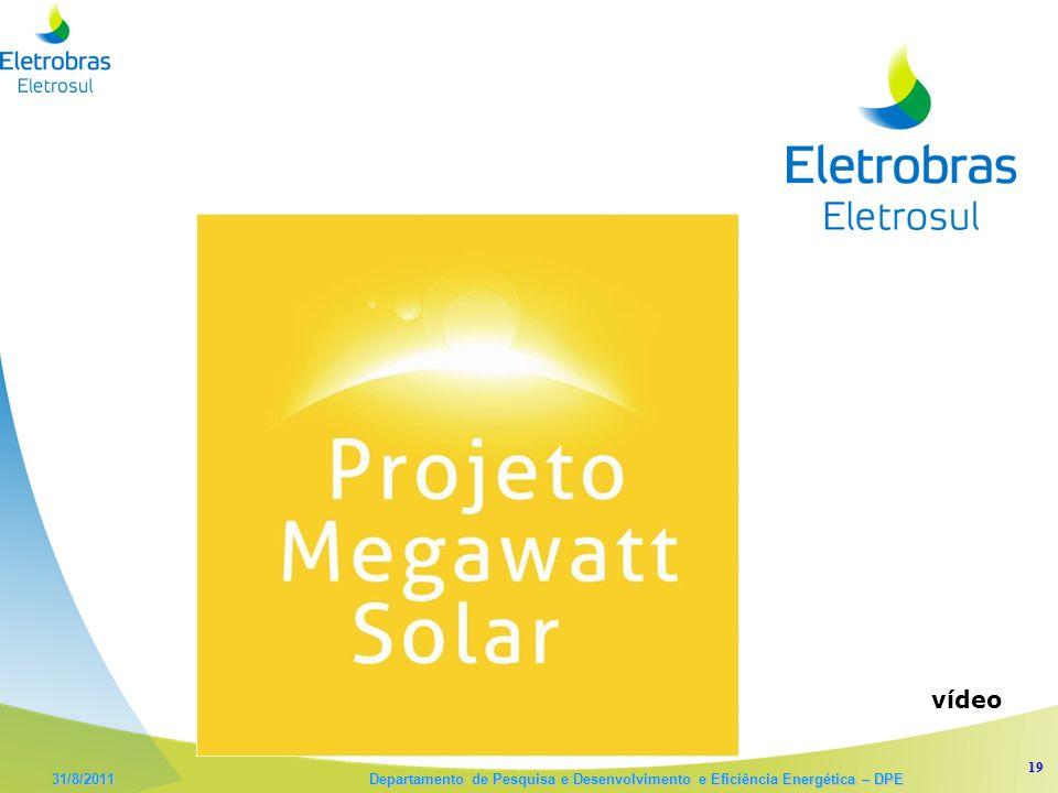 19 31/8/2011 Departamento de Pesquisa e Desenvolvimento e Eficiência Energética – DPE vídeo