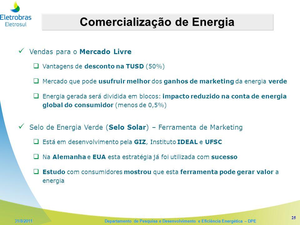 25 31/8/2011 Departamento de Pesquisa e Desenvolvimento e Eficiência Energética – DPE Comercialização de Energia Vendas para o Mercado Livre Vantagens de desconto na TUSD (50%) Mercado que pode usufruir melhor dos ganhos de marketing da energia verde Energia gerada será dividida em blocos: impacto reduzido na conta de energia global do consumidor (menos de 0,5%) Selo de Energia Verde (Selo Solar) – Ferramenta de Marketing Está em desenvolvimento pela GIZ, Instituto IDEAL e UFSC Na Alemanha e EUA esta estratégia já foi utilizada com sucesso Estudo com consumidores mostrou que esta ferramenta pode gerar valor a energia