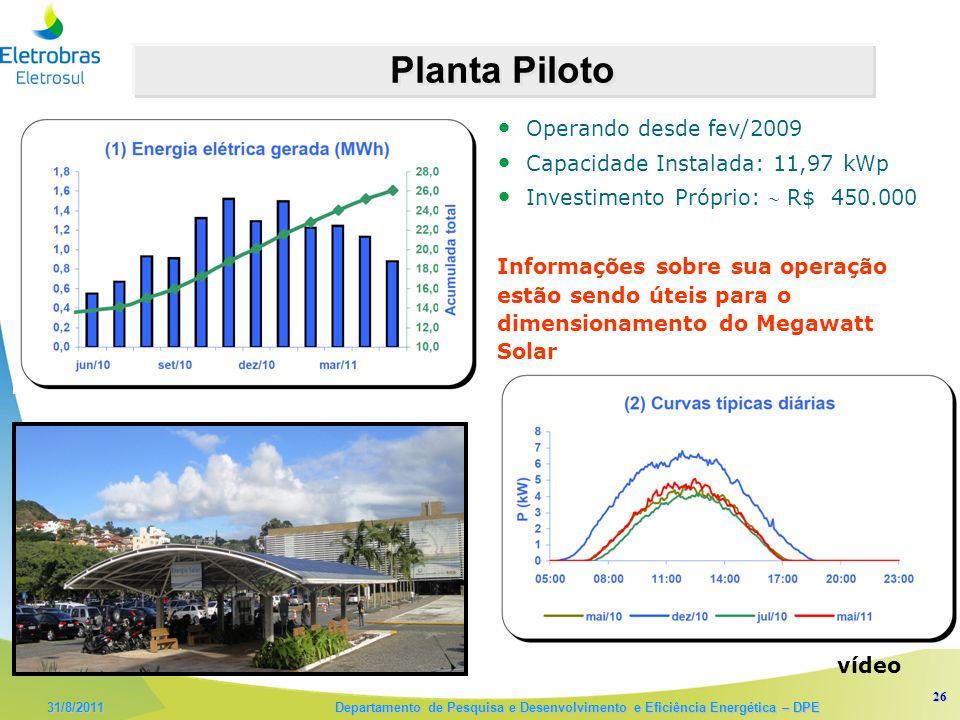 26 31/8/2011 Departamento de Pesquisa e Desenvolvimento e Eficiência Energética – DPE Operando desde fev/2009 Capacidade Instalada: 11,97 kWp Investimento Próprio: R$ 450.000 Informações sobre sua operação estão sendo úteis para o dimensionamento do Megawatt Solar Planta Piloto vídeo
