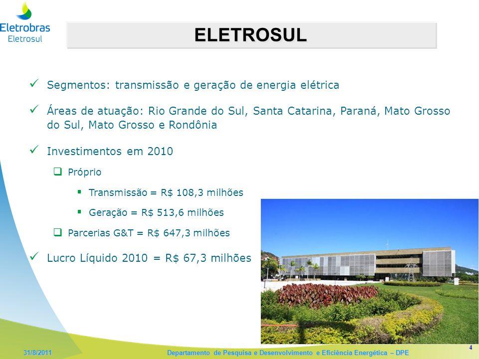 4 ELETROSUL Segmentos: transmissão e geração de energia elétrica Áreas de atuação: Rio Grande do Sul, Santa Catarina, Paraná, Mato Grosso do Sul, Mato Grosso e Rondônia Investimentos em 2010 Próprio Transmissão = R$ 108,3 milhões Geração = R$ 513,6 milhões Parcerias G&T = R$ 647,3 milhões Lucro Líquido 2010 = R$ 67,3 milhões
