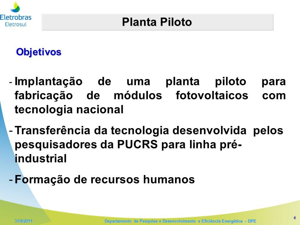 6 31/8/2011 Departamento de Pesquisa e Desenvolvimento e Eficiência Energética – DPE Planta Piloto - Implantação de uma planta piloto para fabricação