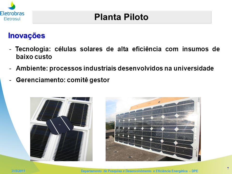 7 31/8/2011 Departamento de Pesquisa e Desenvolvimento e Eficiência Energética – DPE Planta Piloto - Tecnologia: células solares de alta eficiência com insumos de baixo custo -Ambiente: processos industriais desenvolvidos na universidade -Gerenciamento: comitê gestor Inovações