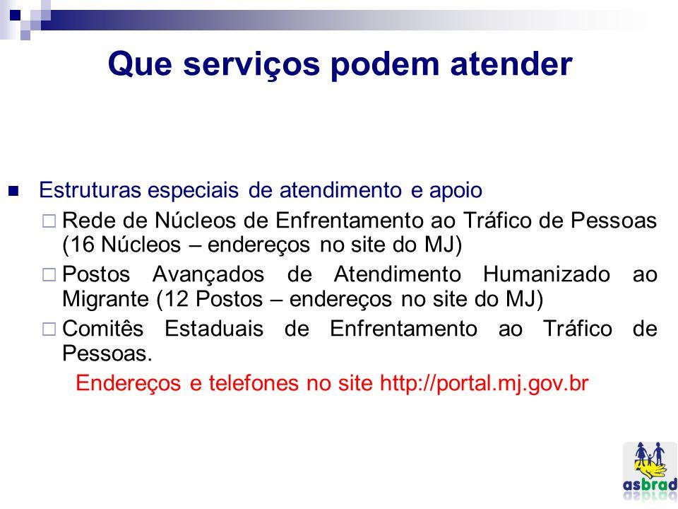 Que serviços podem atender Estruturas especiais de atendimento e apoio Rede de Núcleos de Enfrentamento ao Tráfico de Pessoas (16 Núcleos – endereços