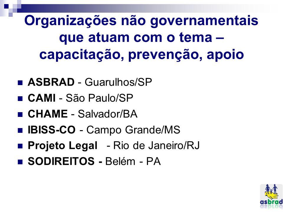 Organizações não governamentais que atuam com o tema – capacitação, prevenção, apoio ASBRAD - Guarulhos/SP CAMI - São Paulo/SP CHAME - Salvador/BA IBI