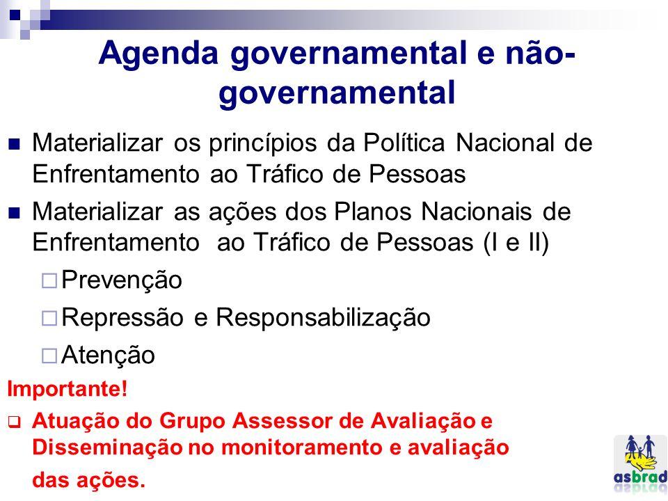 Agenda governamental e não- governamental Materializar os princípios da Política Nacional de Enfrentamento ao Tráfico de Pessoas Materializar as ações