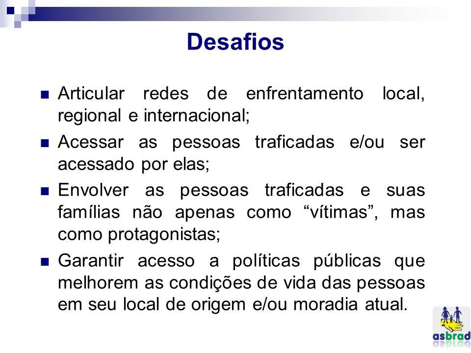 Desafios Articular redes de enfrentamento local, regional e internacional; Acessar as pessoas traficadas e/ou ser acessado por elas; Envolver as pesso