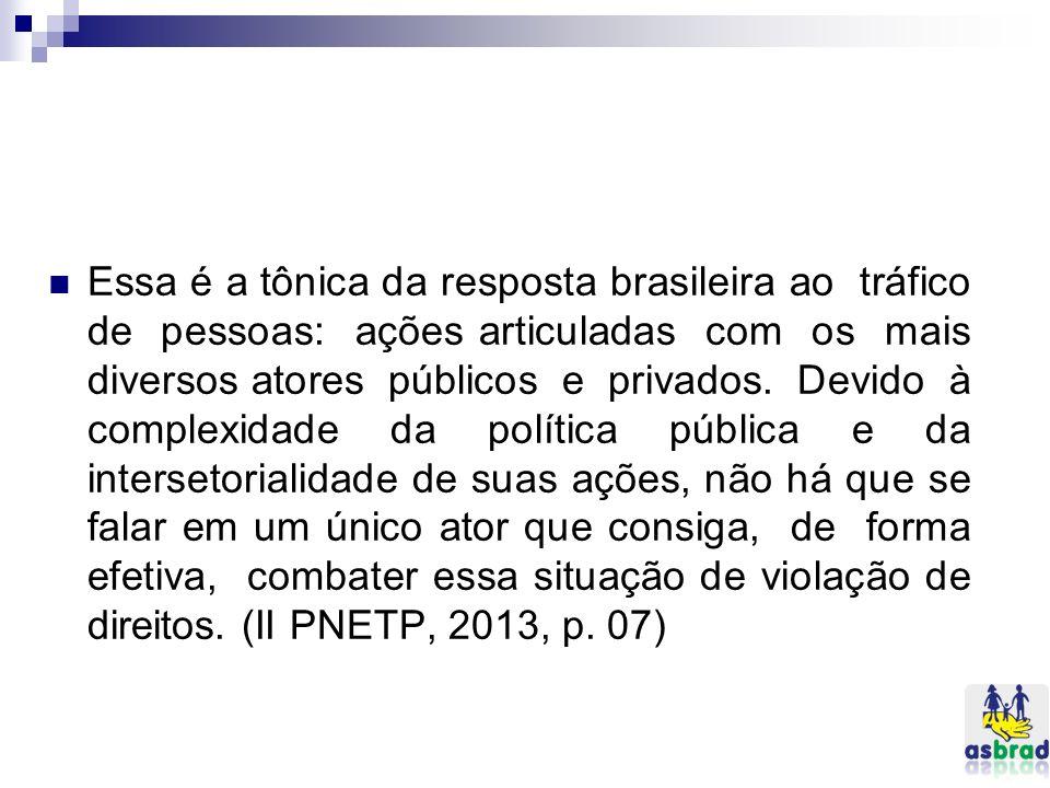 Essa é a tônica da resposta brasileira ao tráfico de pessoas: ações articuladas com os mais diversos atores públicos e privados. Devido à complexidade