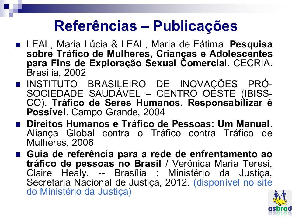Referências – Publicações LEAL, Maria Lúcia & LEAL, Maria de Fátima. Pesquisa sobre Tráfico de Mulheres, Crianças e Adolescentes para Fins de Exploraç