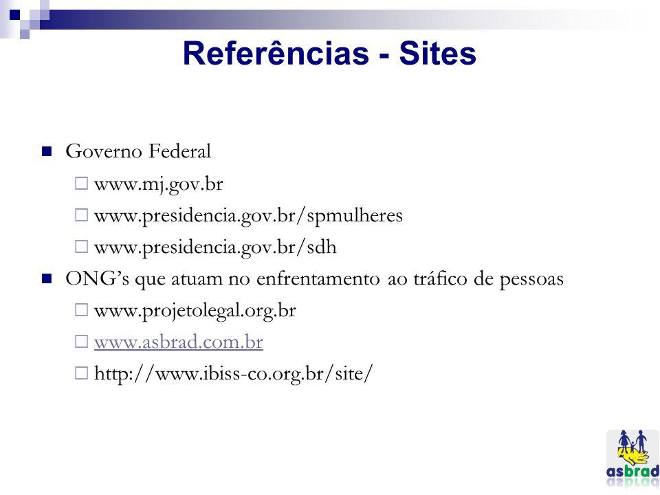 Referências - Sites Governo Federal www.mj.gov.br www.presidencia.gov.br/spmulheres www.presidencia.gov.br/sdh ONGs que atuam no enfrentamento ao tráf