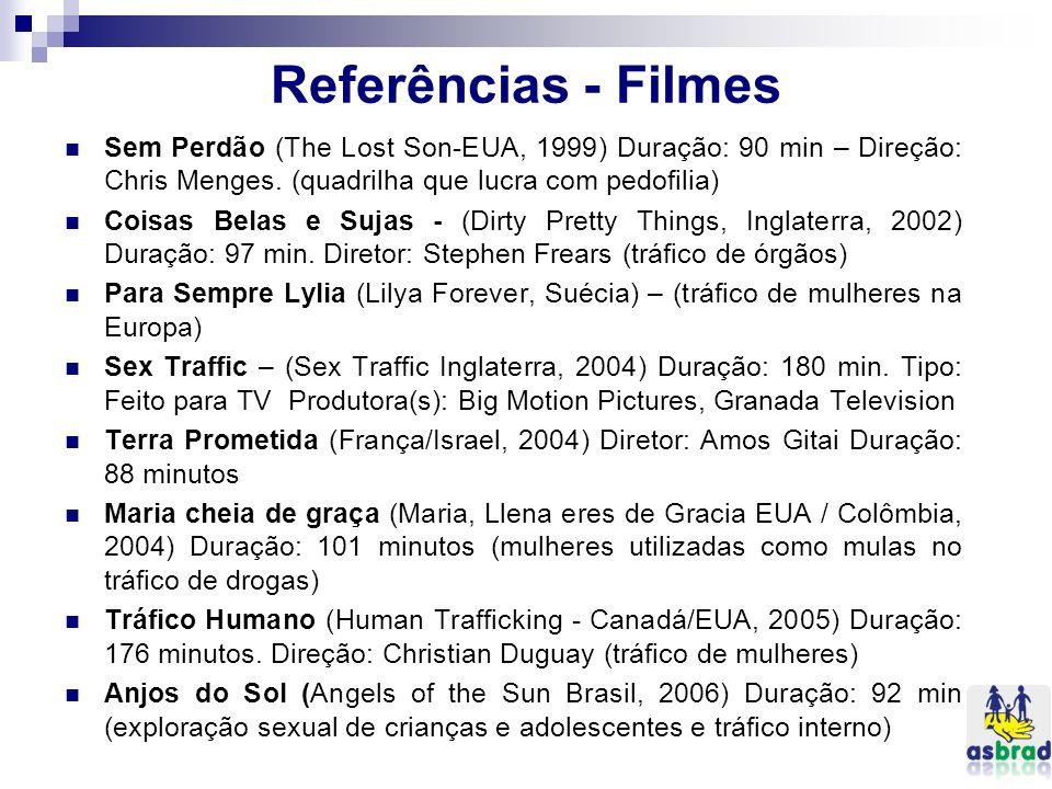 Referências - Filmes Sem Perdão (The Lost Son-EUA, 1999) Duração: 90 min – Direção: Chris Menges. (quadrilha que lucra com pedofilia) Coisas Belas e S