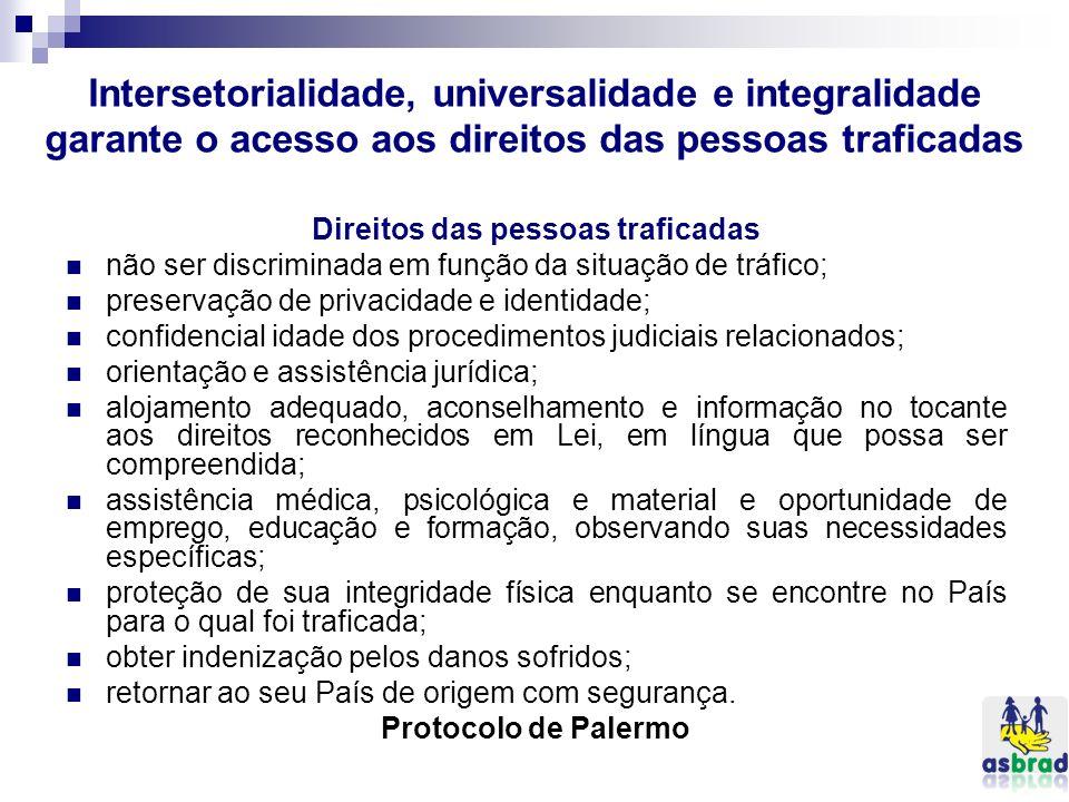 Intersetorialidade, universalidade e integralidade garante o acesso aos direitos das pessoas traficadas Direitos das pessoas traficadas não ser discri