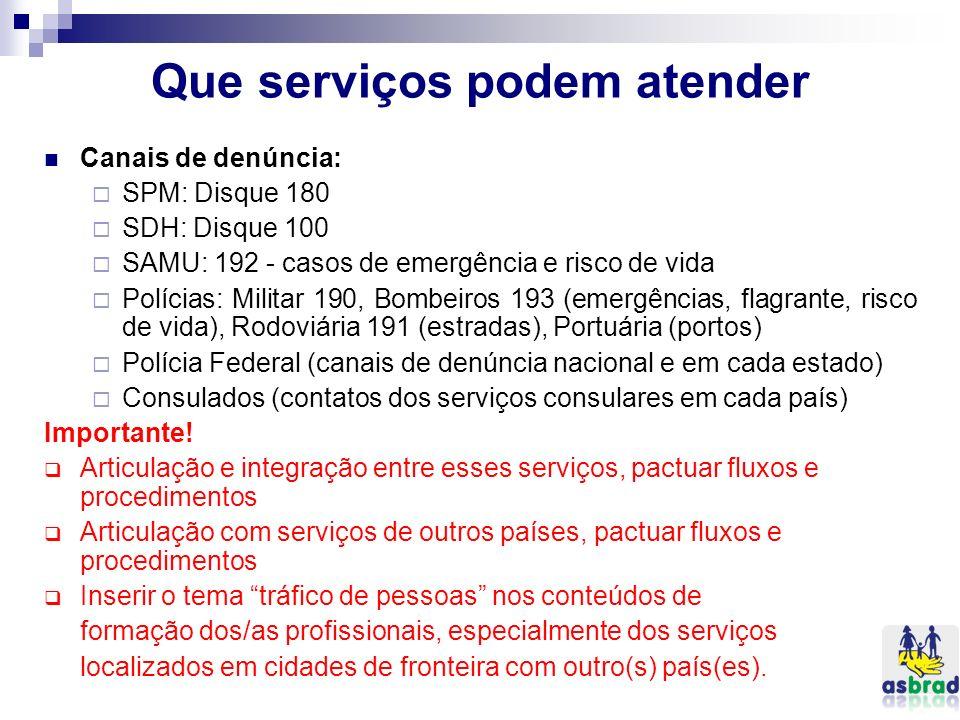 Que serviços podem atender Canais de denúncia: SPM: Disque 180 SDH: Disque 100 SAMU: 192 - casos de emergência e risco de vida Polícias: Militar 190,