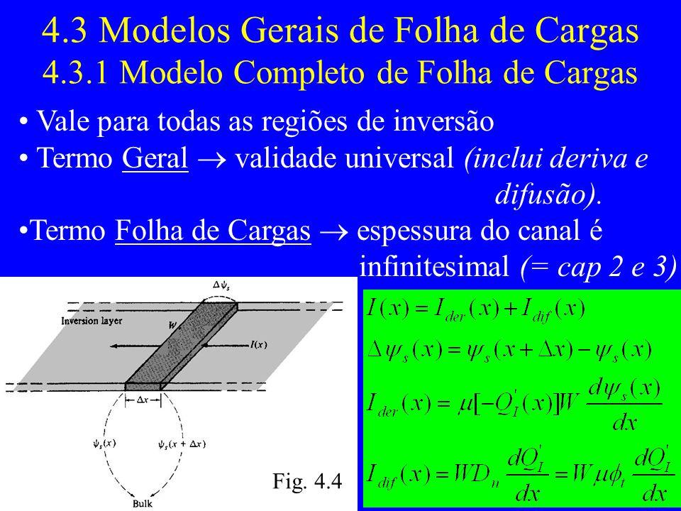 4.3 Modelos Gerais de Folha de Cargas 4.3.1 Modelo Completo de Folha de Cargas Vale para todas as regiões de inversão Termo Geral validade universal (inclui deriva e difusão).