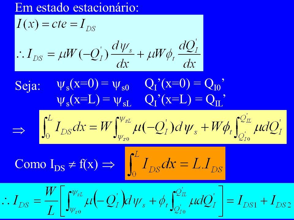 Em estado estacionário: Seja: s (x=0) = s0 Q I (x=0) = Q I0 s (x=L) = sL Q I (x=L) = Q IL Como I DS f(x)