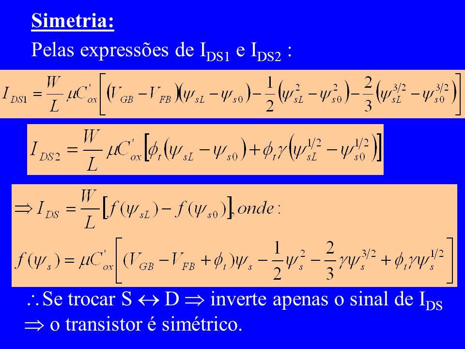 Simetria: Pelas expressões de I DS1 e I DS2 : Se trocar S D inverte apenas o sinal de I DS o transistor é simétrico.