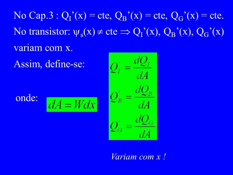 No Cap.3 : Q I (x) = cte, Q B (x) = cte, Q G (x) = cte.
