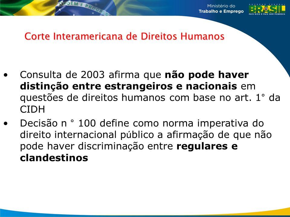 Corte Interamericana de Direitos Humanos Consulta de 2003 afirma que não pode haver distin ç ão entre estrangeiros e nacionais em questões de direitos