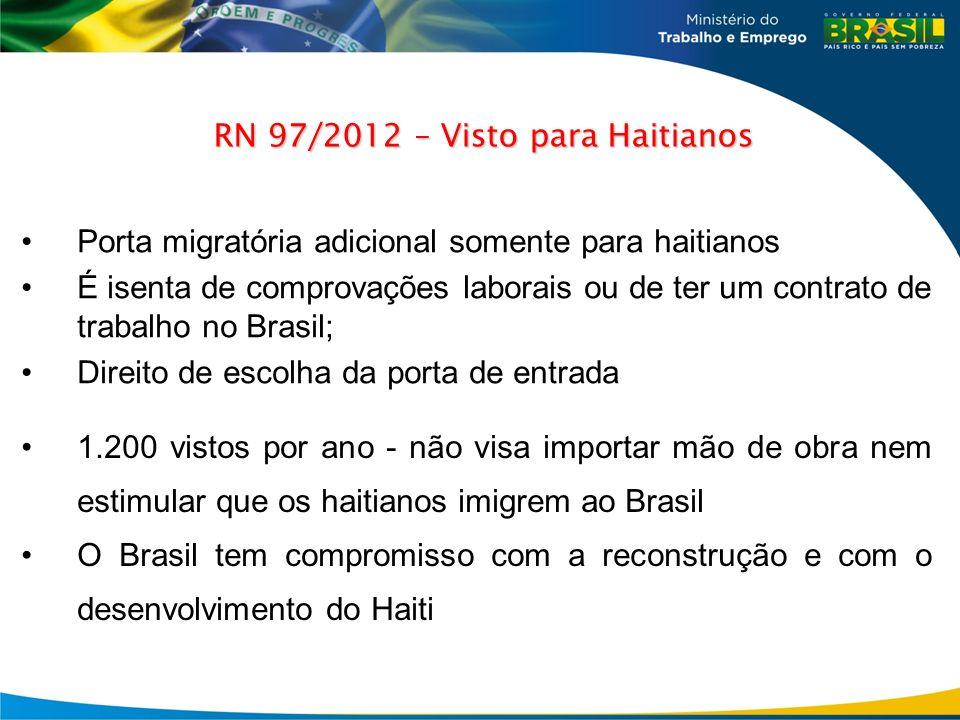 Porta migratória adicional somente para haitianos É isenta de comprovações laborais ou de ter um contrato de trabalho no Brasil; Direito de escolha da