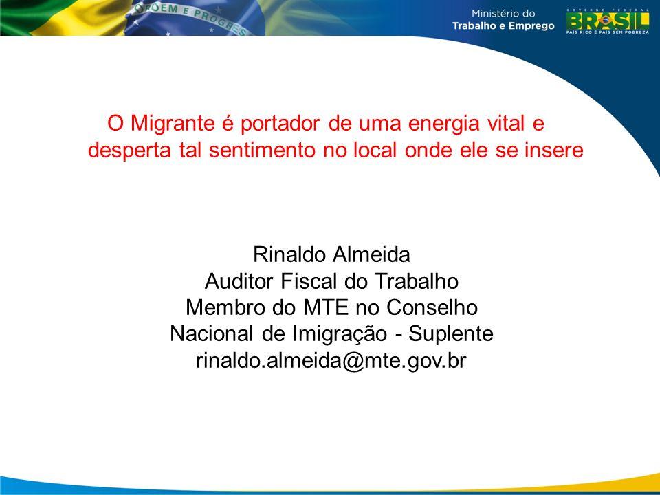 Rinaldo Almeida Auditor Fiscal do Trabalho Membro do MTE no Conselho Nacional de Imigração - Suplente rinaldo.almeida@mte.gov.br O Migrante é portador