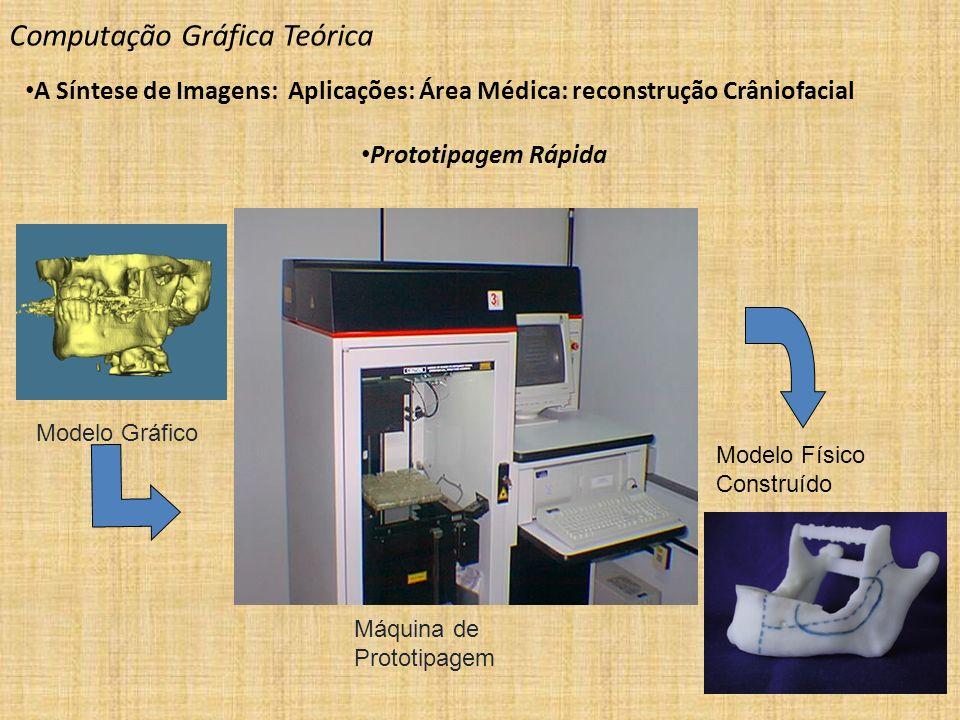 Modelo Gráfico Máquina de Prototipagem Modelo Físico Construído Computação Gráfica Teórica A Síntese de Imagens: Aplicações: Área Médica: reconstrução