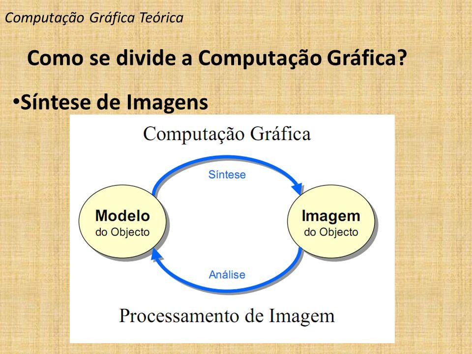 Computação Gráfica Teórica Como se divide a Computação Gráfica? Síntese de Imagens