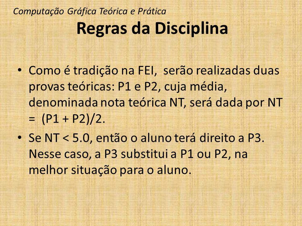 Como é tradição na FEI, serão realizadas duas provas teóricas: P1 e P2, cuja média, denominada nota teórica NT, será dada por NT = (P1 + P2)/2. Se NT